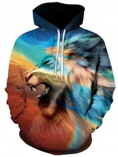 1dbfaac58546 Night Sky Safari Lion Unisex Hoodie - Shop Graphic All Over Print Hoodies  for Men and Women. Our Cool Hoodies Include Space Hoodies