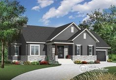 Color version 1 - Front Transitional house plan with open floor plan layout, fireplace, bathroom can be easily added, - Ashbury 2