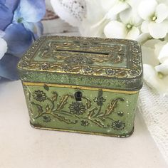 Tiny Antique Art Nouveau Tin Litho Bank Lock Box Embossed floral lockbox Caddy Coin Still Bank Gold Decorative canister. tea tin storage by WonderCabinetArts