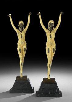 D.H. Chiparus - Bronze Art-Déco - Couple des Danseuses - France XXe siècle - AnticStore Antiquités 20ème siècle - SOLD - VENDU
