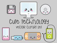 Premium Vector imágenes prediseñadas - imágenes prediseñadas tecnología de Kawaii - tecnología Clip art Set - vectores de calidad alta -…