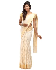 Net Jute Fabric. Twin Color. Body is golden net n off white jute stripes on it with border, Golden n off white color jute designs with saree border. Golden border. Golden color net jute pallu. Blouse is golden net jute with saree border.