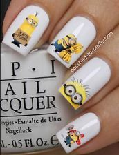 NAIL SET #D2 x20 MINIONS BANANA BOB DESPICABLE ME WATER TRANSFER DECALS STICKERS