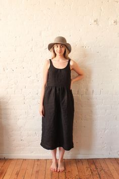 20681aa555 Awesome black washed linen dress from Rennes.