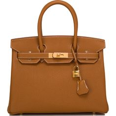Pre-Owned Hermes Gold Togo Birkin 30cm Gold Hardware (1.320.405 RUB) ❤ liked on Polyvore featuring bags, handbags, purses, bolsas, hermes, gold, zipper purse, brown purse, locking purse and hermes handbags