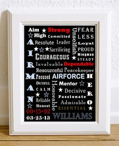 Air Force Military Custom Personalized Word Art Subway Print  Print Art by KayBee Studios on Etsy
