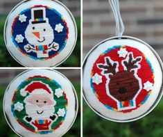 Tree Trimmers Pattern from Myrtle Grace Motifs Tree Trimmers - Reindeer Stitch… Punch Needle Kits, Punch Needle Patterns, Cross Stitch Love, Cross Stitch Patterns, Reindeer, Snowman, Cross Stitch Christmas Ornaments, Motif Design, Stitch Kit