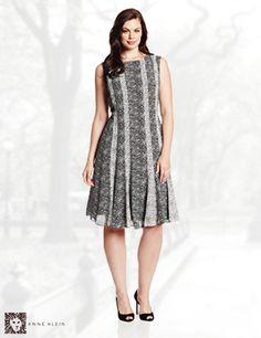 Anne Klein Women's Plus-Size Confetti Mixed Media Dress