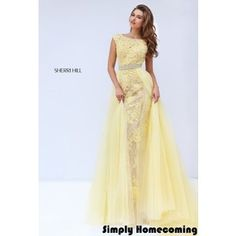 2016 Sherri Hill 11288 Yellow Sleeved Lace Homecoming Dress