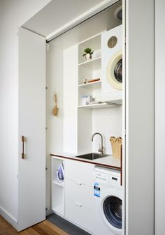 Sustainable design underpins Melbourne cottage reno - The Interiors Addict Laundry In Kitchen, Laundry Cupboard, Laundry In Bathroom, Garage Laundry, Laundry Closet, Downstairs Bathroom, European Laundry, Hidden Laundry, Small Laundry