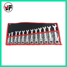 12pcs the key with combination Flexible ratchet wrench auto repair hand tools spanners a set of keys llaves herramientas D6104