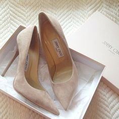 Jimmy Choo Nude Suede Pumps | Spotted on @Gretchen Schaefer Schaefer Schaefer Metzger