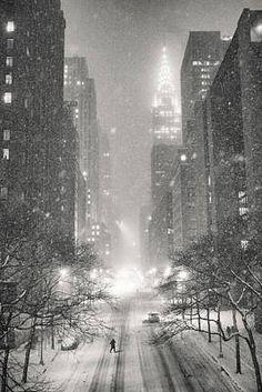 New York City - Winter Night Overlooking the Chrysler Building Art Print