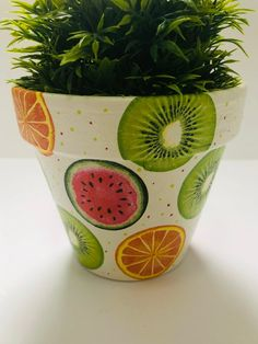 Decoupaged Terracotta Plant Pot, Watermelons, Orange And Kiwifruit Design, Gifts Ideas, Home Design. Painted Plant Pots, Terracotta Flower Pots, Painted Flower Pots, Painted Pebbles, Hand Painted, Flower Pot Art, Flower Pot Design, Flower Designs, Watermelon Painting