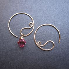 Small 14k Gold filled Hammered Paisley Hoop Earrings, Interchangeable crystals and gemstones