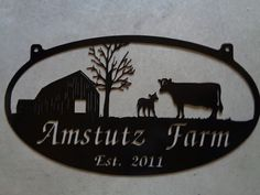 Personalized Metal Sign with  barn and cow calf scene customized with your name
