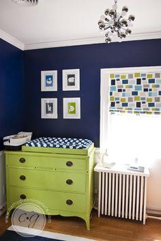 Navy, Green, & White Nursery ~ Cathy Green Interiors