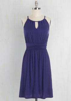Afternoon Outing Dress - Blue, Solid, Casual, Beach/Resort, A-line, Sleeveless, Knit, Good, Halter, Mid-length