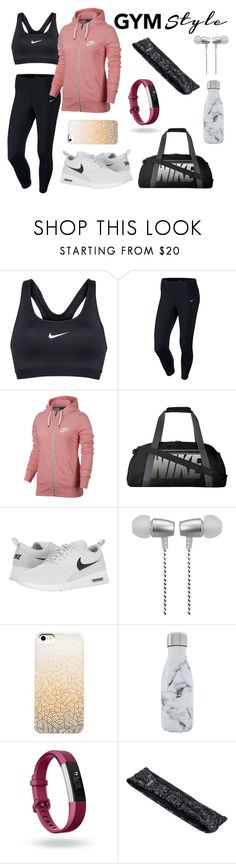 """""""Fitness fashion"""" by stellafalls ❤ liked on Polyvore featuring NIKE, Cynthia Rowley, S'well, Fitbit and Empower"""