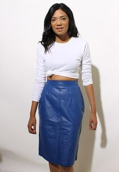 42898988fa vintage 80s bright blue leather skirt high waist pencil XS-S Short Skirts,  Leather