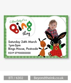Personalised Bing Bunny and Flop Photo Invitations.  Printed on Professional 300 GSM smooth card with free envelopes & delivery as standard. www.beyondtheink.co.uk