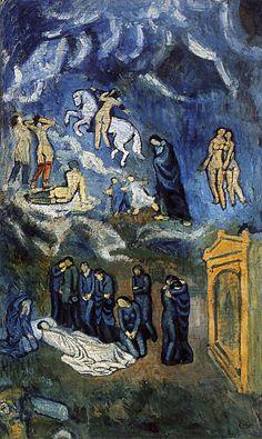 Picasso, Pablo - L'Enterrement de Casagemas, Evocation 1901  Huile sur Toile 150x90 cm Paris, musée d'Art moderne