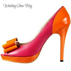 Fuchsia and Tangerine Platform Wedding Shoes: A Bold Color Pop for Today's Modern Bride. http://www.weddingshoesblog.com/tag/fuchsia-and-tangerine-platform-bridal-shoes/ #weddingshoes #style #fashion