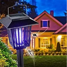 New & Improved Solar Powered Zapper- Enhanced Outdoor Flying Insect Killer- Hang or Stake in the Ground- Cordless Garden Lamp- Portable LED Machine- Best Stinger for Mosquitoes/ Moths/ Flies (Black) * You can get additional details at the image link. Mosquito Zapper, Bug Zapper, Mosquito Killer Machine, Electric Bug, Thing 1, Flying Insects, Garden Lamps, Solar Lights