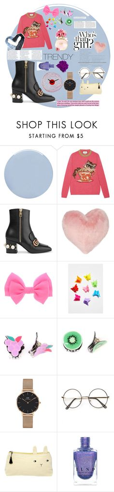 """Who's THAT girl??"" by papillonnue ❤ liked on Polyvore featuring Deborah Lippmann, Gucci, Nordstrom Rack, Noir Jewelry, Riah Fashion, Anja, Therapy, Daniel Wellington and Emile et Ida"