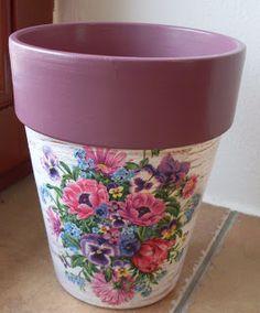 Květináč, decoupage, flowerpot,