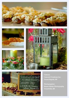 A few of the many amazing foods that Catered Creations can prepare for you!  Table decor is also available.