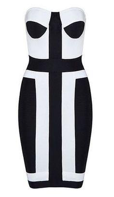 Gabbie Black and White Bustier Dress
