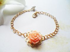 Elegant gold plated flower bracelet with a peach rose pendant, nature inspired jewelry, Selma Dreams bridal jewelry, bridesmaidsgift by SelmaDreams on Etsy