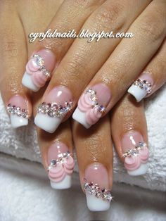 Nail Art Collection: Bridal nails. Pink frills and mini bows!