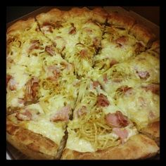 This is my first attempt to make a nest pizza -as they call it- and it`s a la carbonara style with ham bacon milk cream gouda and parmesan.