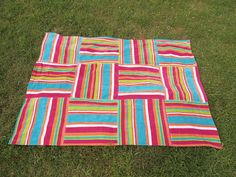 """Two beach towels cut up and sewn back together as one BIG beach blanket measuring 90"""" x 132"""". .. ..."""