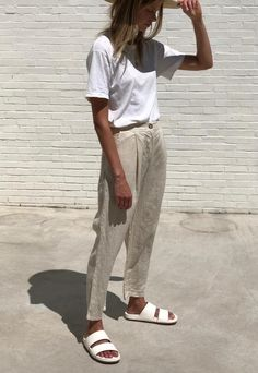Ella linen pants in vanilla, - Summer Outfits Look Fashion, Daily Fashion, Girl Fashion, Fashion Outfits, Womens Fashion, Fashion Trends, European Fashion, Fashion Styles, Fashion Boots
