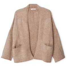 MANGO Side Pockets Cardigan ($70) ❤ liked on Polyvore featuring tops, cardigans, mango tops, 3/4 sleeve cardigan, mango cardigan, 3/4 length sleeve tops and beige top