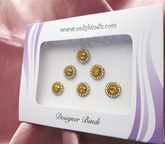 Adorable Gold & Crystal Round Bindis. by BindiStoreUSACANADA, $10.99