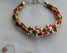 Multicolour Kumihimo Bracelet-Satin Cord Braided Bracelet and Randomly Silver Beads at Centre-Silver Tone End Caps and Clasp.