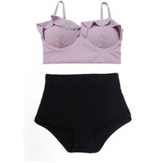 Lavender Purple Top and Black Highwaist Highwaisted Shorts Bottom... ❤ liked on Polyvore featuring swimwear, bikinis, retro high waisted swimsuits, retro swimsuit, swimsuits bikinis, high waisted bikini swimwear and high waisted swim suit