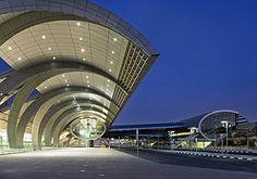 Dubai Airport, Emirates terminal three, detail of terminal building.
