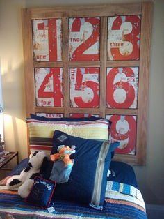 Cute Boy's Headboard... made from new numbers on tin that are made to look old.
