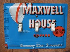 Rustic Kitchen Switch Plates made from vintage Maxwell House coffee tins by tincansally