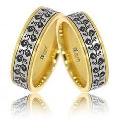 Verighete Lux Varvara aur galben cu alb Couple Rings, Aur, Bangles, Bracelets, Gemstone Rings, Wedding Rings, Engagement Rings, Gemstones, Floral