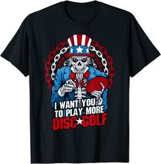 Amazon.com: Play More Disc Golf Frolf Patriotic Goth USA Uncle Sam Skull T-Shirt: Clothing Cool Tees, Cool T Shirts, Branded T Shirts, Printed Shirts, Dark Fashion, Mens Fashion, Gothic Shirts, Skull Shirts, Best Tank Tops