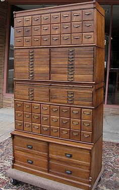 (Wabash Cabinet from Bradford Antiques) Love all the different sized drawers. Would be great for craft storage Unique Furniture, Vintage Furniture, Furniture Design, Rustic Furniture, Furniture Online, Furniture Stores, Industrial Furniture, Cherry Furniture, Powell Furniture