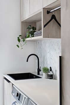 Design Duo Zephyr & Stone unveil their latest project. Laundry Decor, Laundry Room Organization, Laundry Room Design, Laundry In Bathroom, Laundry Storage, Home Design, Küchen Design, Modern Laundry Rooms, Laundry Room Inspiration