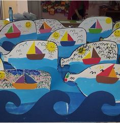 and craft with paper easy and beautiful craft ideas and craft videos paper crafts for kids work art Kindergarten Art Lessons, Art Lessons Elementary, Paper Crafts For Kids, Arts And Crafts, Art N Craft, Craft Work, Ocean Crafts, Sea Theme, Pirate Theme