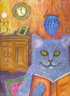 CAT ILLUSTRATION PRINT   (That look they give you when the kitteh knows...and you still don't...hehe!)